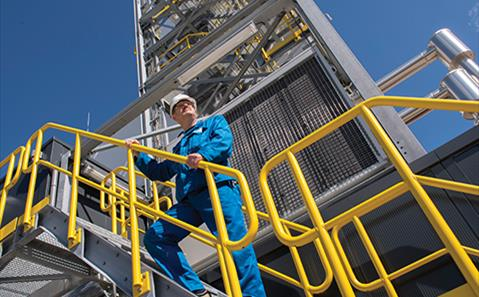 SABIC plant worker on the stairs